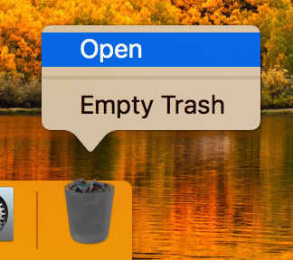 Click the Trash icon to open the folder