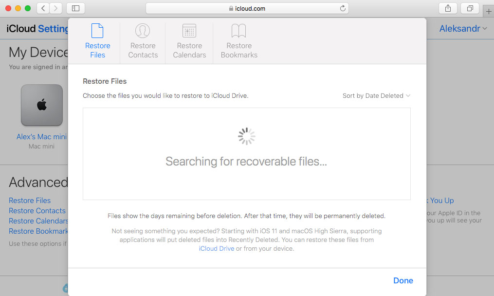 recovering data from iCloud